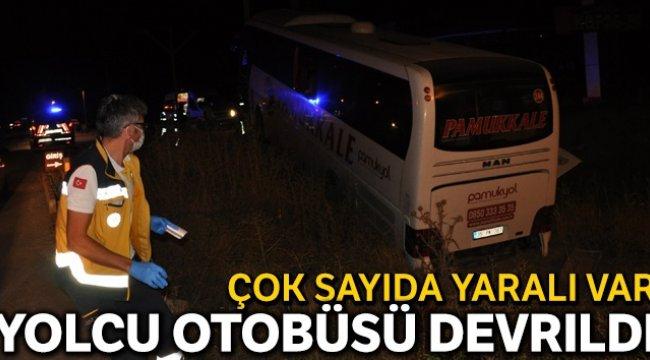 Yoldan çıkan yolcu otobüsü devrildi, 25 yaralı var