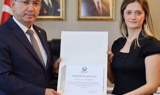 ODÜ'lü bilim kadınına tebrik
