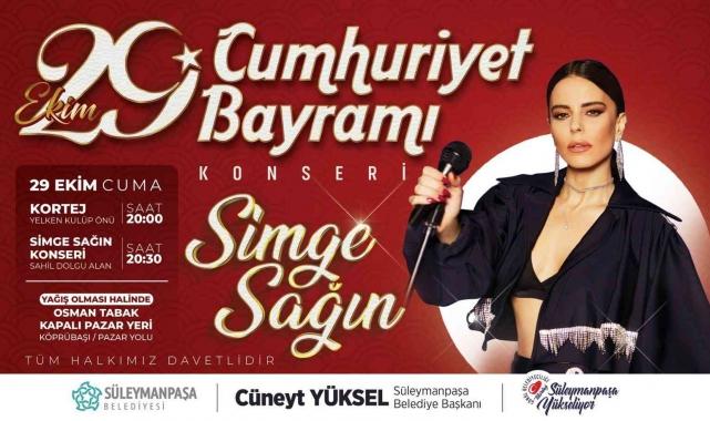 Süleymanpaşa 29 Ekim coşkusunu Simge Sağın konseri ile yaşayacak