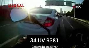 TEM Otoyolu'nda motosikletlinin ölümden döndüğü makas terörü kamerada